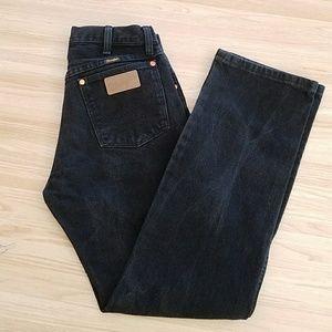 Vintage Wrangler Boot Cut Black Denim Jeans 29x32